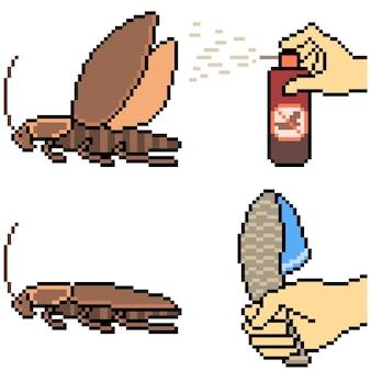 Pixelart van het doden van walgelijke kakkerlakken