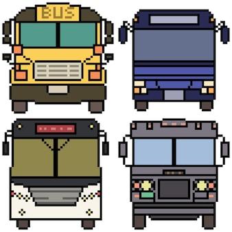 Pixelart van het vooraanzicht van de bus
