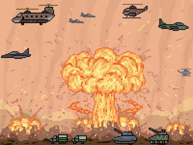 Pixelart van nucleaire oorlog