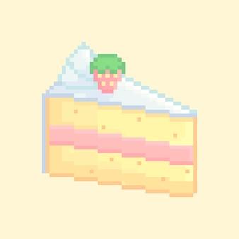 Pixelart van schattige korrelige aardbeien shortcake