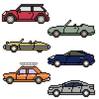 Pixelart van verschillende autokanten