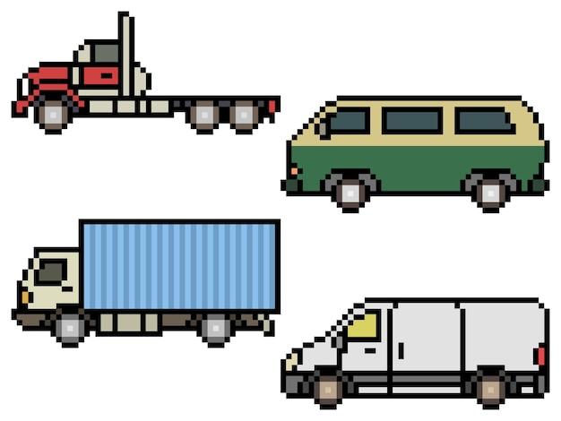 Pixelart van zijaanzicht van vrachtwagens en bestelwagens