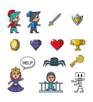 Pixelated game iconen pictogrammen
