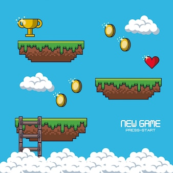 Pixelated game scenery-pictogrammen