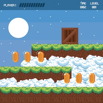 Pixelated landscape videogame scenery