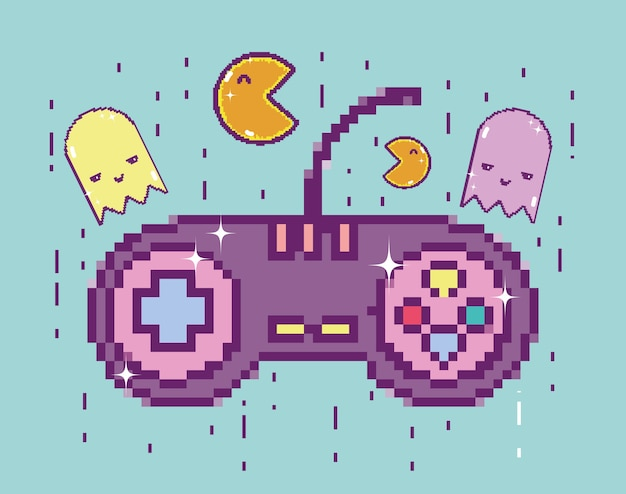 Pixelated retro gamepad-cartoon