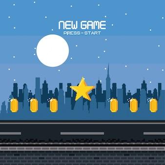 Pixelated stedelijk videogamelandschap