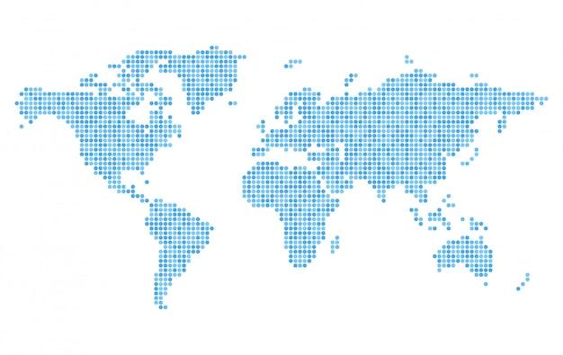 Pixelated wereldkaart met blauwe cirkel stippen