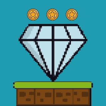 Pixelfiguur van munten en diamanten