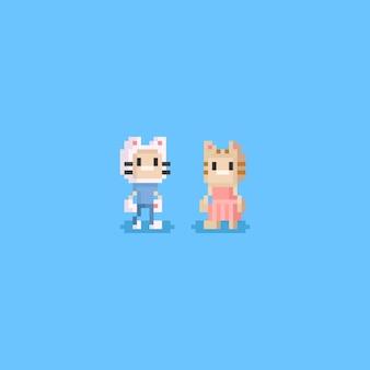 Pixeljongen en meisje die kattenhoeden dragen