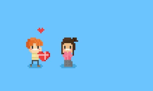 Pixeljongen geeft een valentijnskaarthart aan girl.8bit.