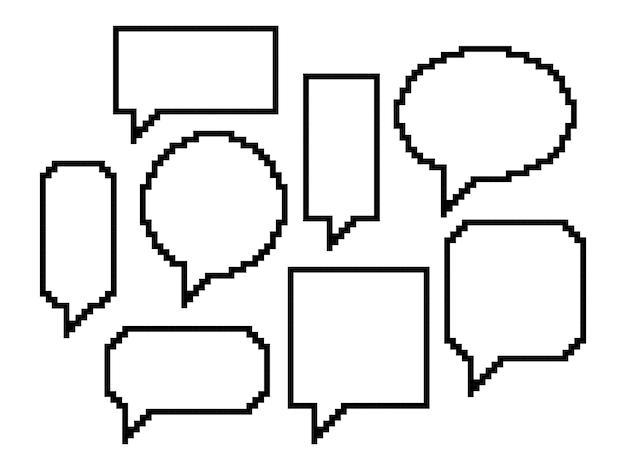 Pixelkunst, set van tekstballonnen