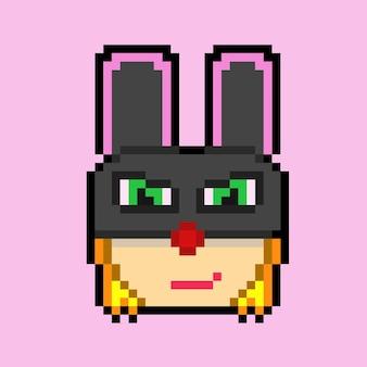Pixelkunst van iemand met een zwart konijnenmasker
