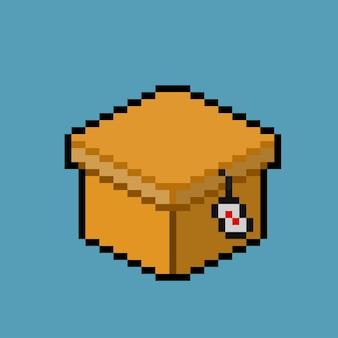 Pixelkunst van kartonnen doos met verkooplabel
