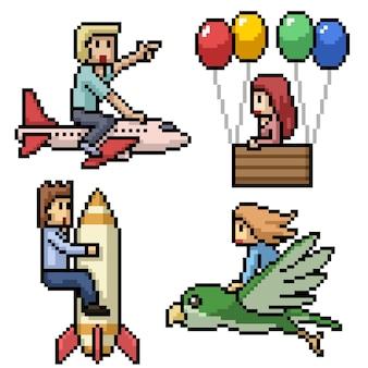 Pixelkunst van mensen die in een droom vliegen