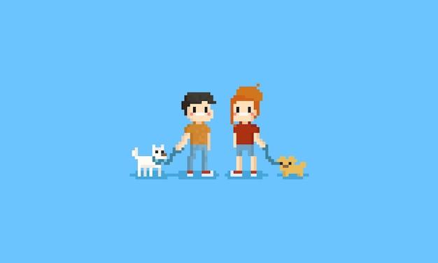 Pixelman en vrouw die hen huisdier houden