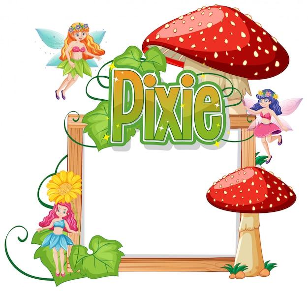 Pixie-logo's met lege banner op witte achtergrond
