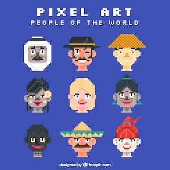 Pixilated avatars van mensen in de wereld