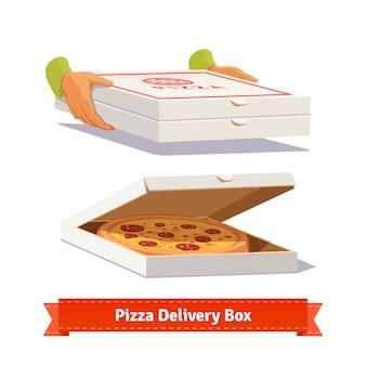 Pizza bezorging. een pizza doos overhandigen