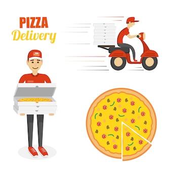 Pizza bezorgset. Premium Vector