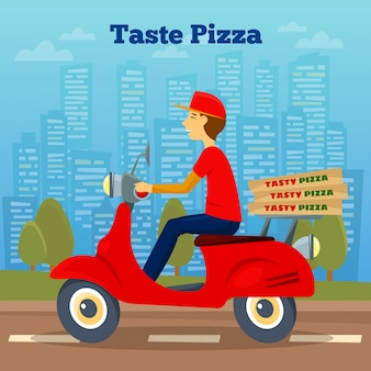 Pizza courier op scooter