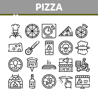 Pizza delicious food collection icons set