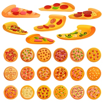 Pizza-elementen instellen, cartoon stijl