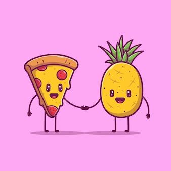 Pizza en ananas schattig karakter pictogram illustratie. liefde paar voedsel mascotte, voedsel pictogram concept geïsoleerd