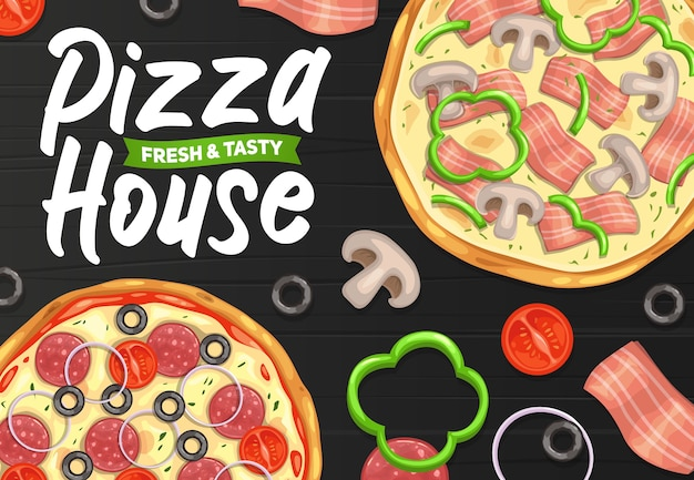Pizza en pizzeria, italiaans restaurant of fastfoodmenu, poster.