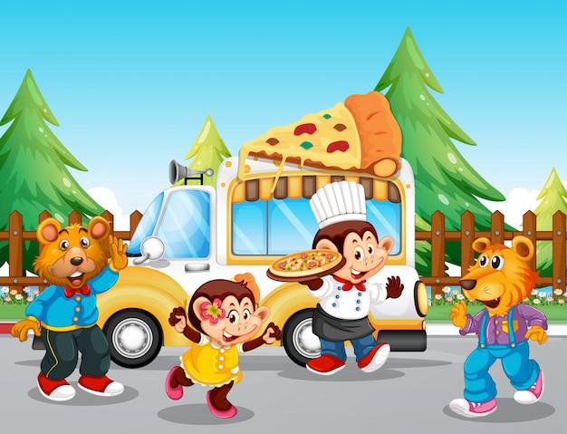 Pizza eten vrachtwagen in het park