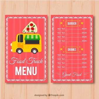 Pizza eten vrachtwagen menusjabloon