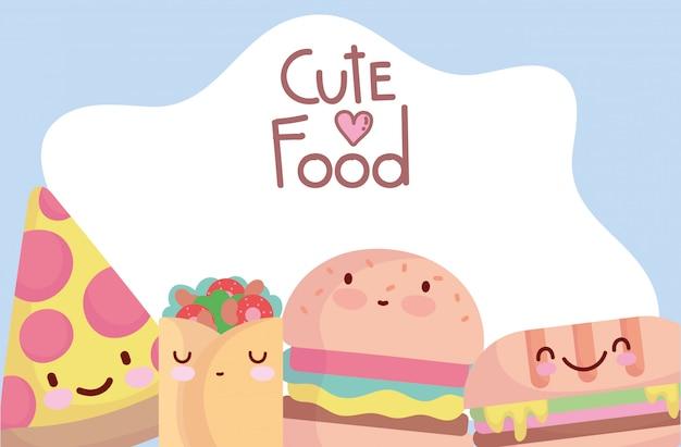 Pizza hamburger sandwich taco menu karakter cartoon eten schattig