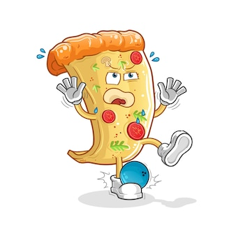 Pizza hiten door cartoon mascotte bowlen. cartoon mascotte mascotte