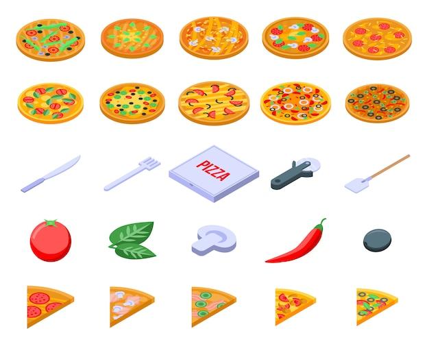 Pizza iconen set, isometrische stijl