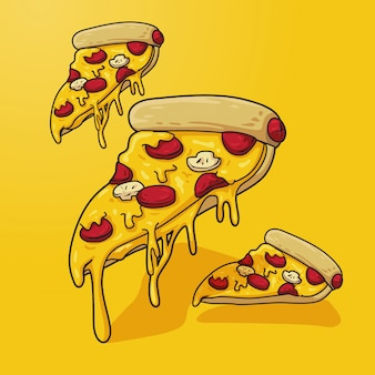 Pizza illustratie op geel