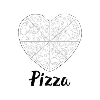 Pizza in de vorm van een hart voor valentijnsdag. handgetekende illustratie van pizza. vector schets. vintage patroon.