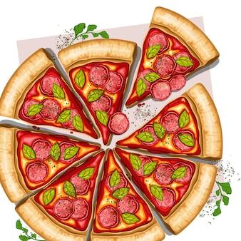 Pizza in plakjes