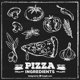 Pizza ingrediënten geschilderd met krijt