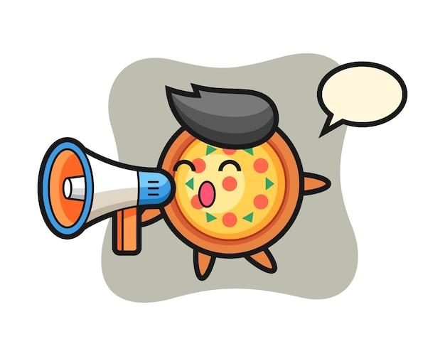 Pizza karakter met een megafoon