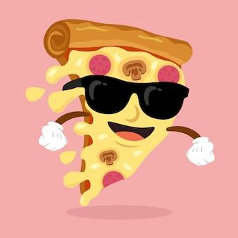 Pizza karakter met zonnebril glimlachen