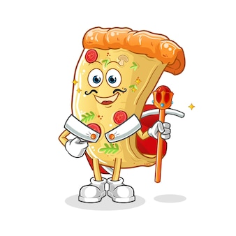 Pizza koning cartoon mascotte mascotte