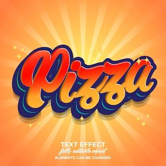 Pizza lettertype-effect met hete kleurenthema