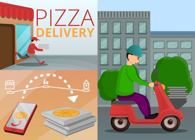 Pizza levering banner set, cartoon stijl