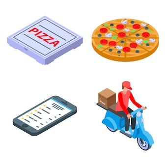 Pizza levering iconen set, isometrische stijl