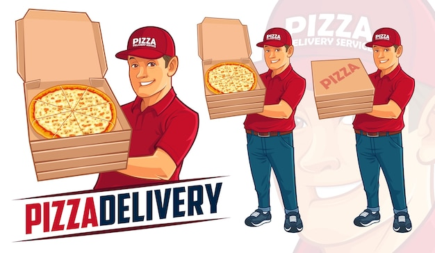 Pizza levering man mascotte ontwerp