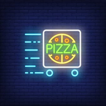 Pizza levering neon bord met kar in beweging. nacht heldere advertentie.