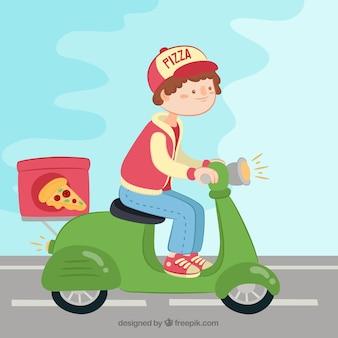 Pizza levering op scooter met mooie stijl