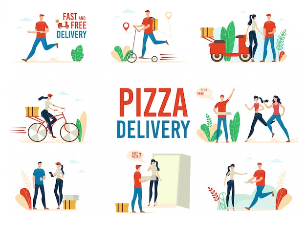 Pizza levering service platte vector concepten set