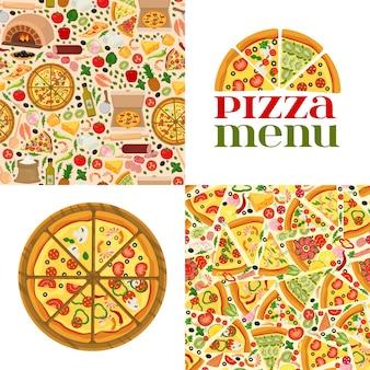 Pizza, logo en naadloos patroon