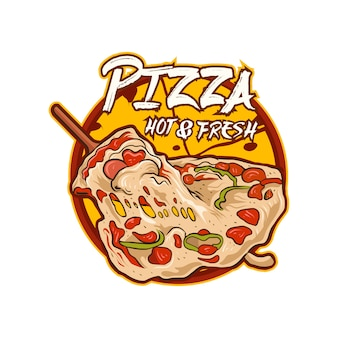 Pizza logo illustratie vector geïsoleerd